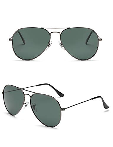 KATCOCO LIGHTWEIGHT Premium Military Style Classic Aviator Sunglasses Mirrored Polarized Lens with Case - UV 400 Protection 61MM (Grey Frame/Dark Green ()