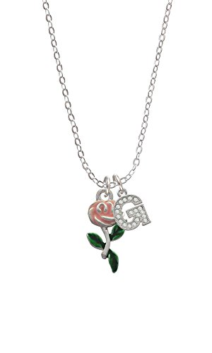 Pink Rose Flower Initial - G - Sophia Necklace