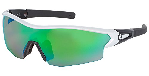 Scott Leap Interchangeable Lens Sunglasses - 238999 (White Glossy/Black/Green Chrome Amplifier + Clear)