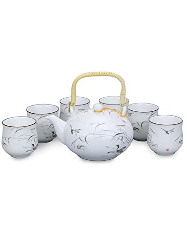 Dahlia Handpainted Porcelain Tea Gift Set: Teapot+ 6 Teacups in Gift Box, Happy Ducks