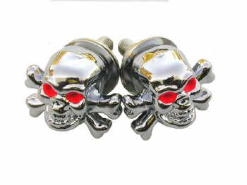 Chrome Die Cast Skull and Crossbone Fasteners (Pair)