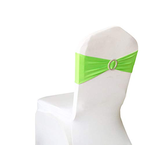 SINSSOWL Pack of 50PCS Elastic Slider Chair Sashes Spandex Chair Cover Band Bows for Wedding Decoration-Light Green (Lime Green Sash)