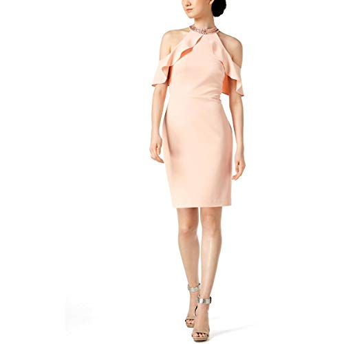 Calvin Klein Womens Halter Ruffled Cocktail Dress Pink 8 (Halter Ruffled Evening Gown)
