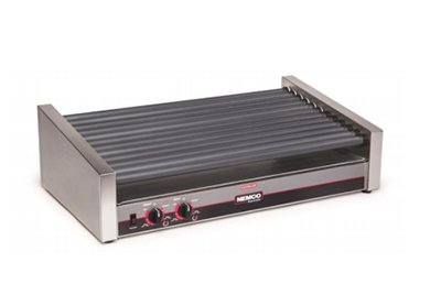 Nemco 8033SX-SLT Roll-A-Grill, Hot Dog Grill, 33 Hot Dog Capacity (660 Per Hour), Gripslt Coated Rollers with 7 Degree Slant