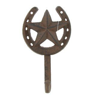 Cast Iron Star Horseshoe Single Wall Hook (Western Cowboy Wall Hook)