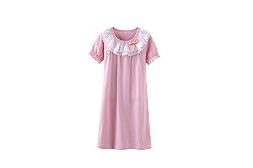 DGAGA Little Girls Princess Nightgown Cotton Lace Bowknot Sleepwear Nightdress