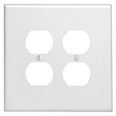 Leviton 88116 001-000 2 Duplex Receptacle Oversized Wall Plate, 2 Gang, 5-1/4 in L X 5.31 in W 0.255 in T, White
