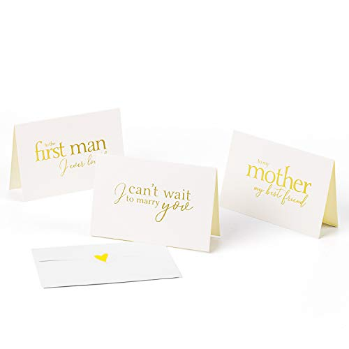 Bridesmaid Wedding Greeting Card - WRAPAHOLIC Gold Hot Stamping to Your Bride, Groom and Parent Card - I Can't Wait to Marry You, to My Mother My Bestfriend, to The First Man I Ever Loved - 6 Pack