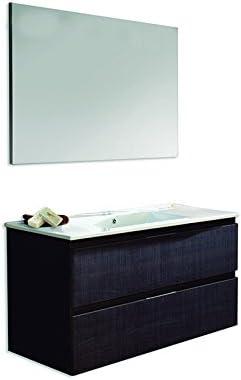 Platos de ducha y mamparas Conjunto Naima_PdM_ Mueble + encimera cerámica + Espejo Liso (Roble Sinatra, 100cm): Amazon.es: Hogar