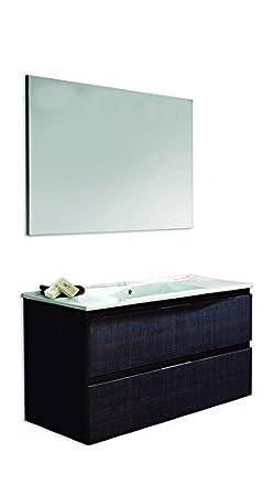 vasque en c/éramique et miroir lisse 80/cm Blanc brillant Platos de Ducha y Mamparas Naima Ensemble meuble