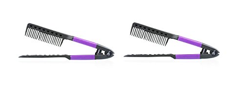 Price comparison product image Herstyler V Shaped Easy Comb, Instant Straightener for Fast and Painless Hairstyling, Purple (Pack of 2)