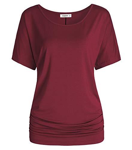 Esenchel Women's Short Sleeve Dolman Top Scoop Neck Drape Shirt M WineRed Drape Neck Knit Top