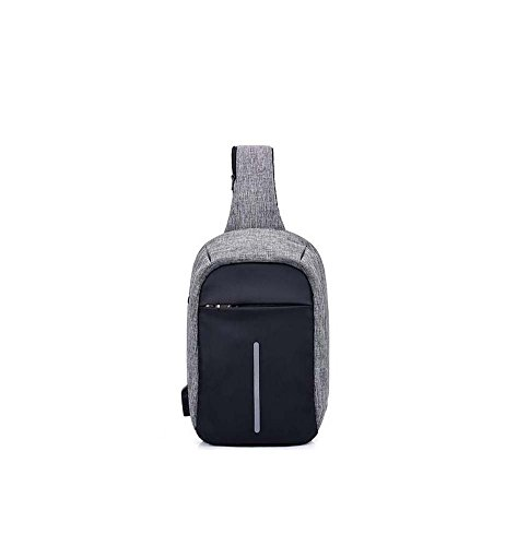 Messenger Hole Men's Usb Outdoor Dunkelgrau theft Rechargeable function Shoulder Chest Canvas With Anti Bag Headphones Multi Travel Gjx B6Aqwfw