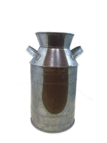 Benzara BM154506 Countryside Metal Galvanized Milk Can Shape Pitcher, Gray