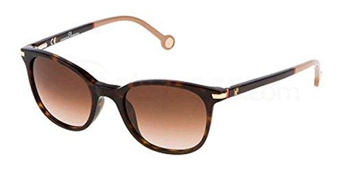 Carolina Herrera Womens Dark Havna Square Plastic Sunglass SHE650V - Herrera Sunglasses Carolina