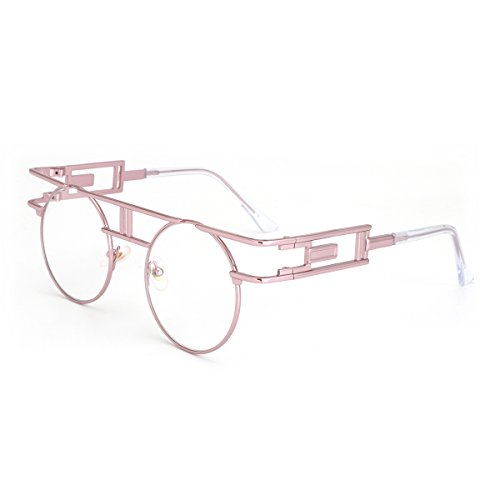 ROYAL GIRL Gothic Steampunk Sunglasses Women Men Round Classic Retro Clear Lens Glasses Rose Gold Metal - Prescription Retro Sunglasses