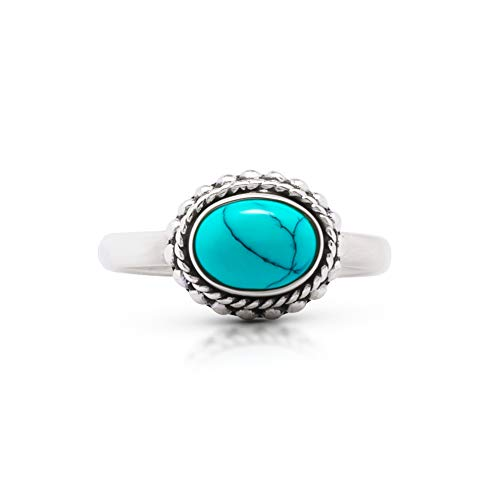 - Koral Jewelry Synthetic Turquoise Braid Ring 925 Sterling Silver Vintage Gipsy Boho Chic (7)