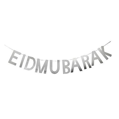 Hemarty Silver glitter eid mubarak banner, sparkly festival banner, 1st birthday, personalised banner, party banner,happy birthday, for $<!--$7.54-->
