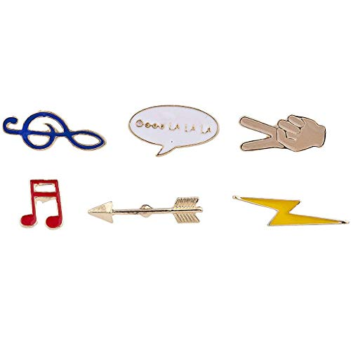 Lux Accessories Musical Note Peace Sign Arrow Thunder Emoji Enamel Pin Set 6 PC from Lux Accessories