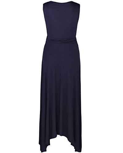 OUGES Women's V Neck Sleeveless Summer Casual Long Maxi Dresses(Navy,S) ¡ by OUGES (Image #3)