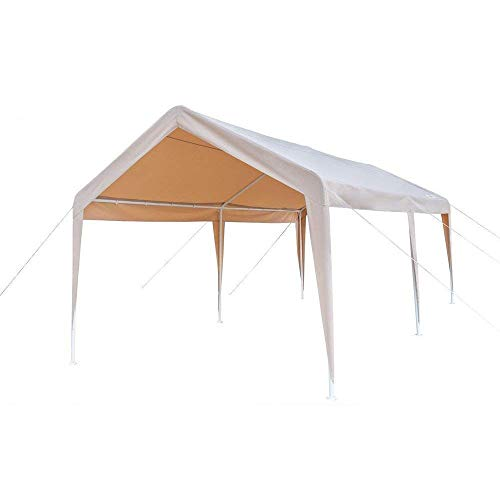 - VINGLI 10' x 20' Heavy Duty Carport Car Canopy w/Edge Cover, Car Park Shed, Anti UV and Waterproof, Upgraded Steady Steel Panels and Parts, Versatile Garage Vehicle Shelter, Khaki