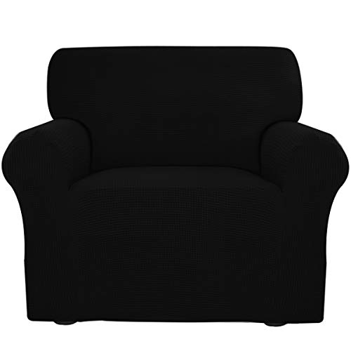Easy-Going Stretch Sofa Slipcover Sofa Cover Furniture Protector Sofa Shield Couch Soft with Elastic Bottom Anti-Slip Foam Kids,Polyester Spandex Jacquard Fabric Small Checks(Chair,Black)