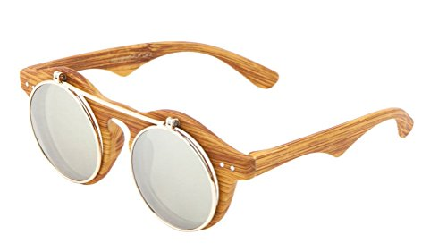 Designer Flip Up Sunglasses - Faux Wood Frame Iridium Mirror Lenses