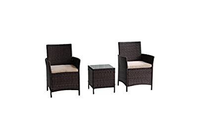 United Flame HKI Outdoor Patio Furniture Sets Rattan Wicker Set Backyard Porch Lawn Garden Balcony Furniture Set with Cushions and Glass Table All Weather RTA Furniture