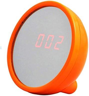 KEHUITONG 目覚まし時計、創造的なミラー学生時計、眠そうな怠惰な電子時計、オレンジ、電池式 最新スタイル (Color : Orange)