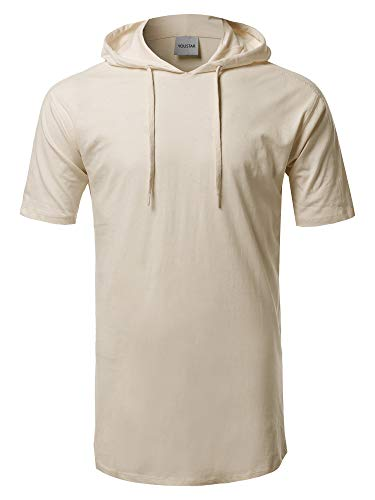 (Solid Drawstring Hood Short Sleeve Top Tan XL )