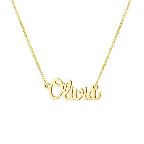 (Awegift Name Necklace Big Initial Gold Plated Best Friend Jewelry Women Gift for Her Olivia)