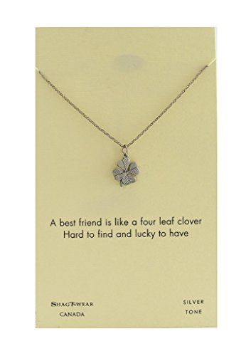 Shagwear Make a Wish and Luck Inspirations Quote Pendant Necklace (Four Leaf Clover, Luck Pendant) - Make A Wish Necklace