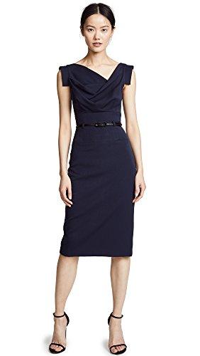 Black Halo Women's Jackie O Belted Dress, Eclipse, (Belted Cowl Neck Dress)