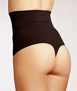 6c15bc40afbf9 DKNY Womens High Waisted Shaping Thong Shapewear With Firm Tummy Control -  Black -  Amazon.co.uk  Clothing