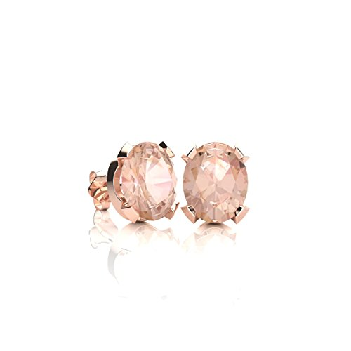 3/4 Carat Oval Shape Morganite Stud Earrings In Rose Gold Over Sterling Silver