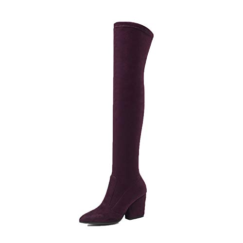 This is an Upgrade Boots,Women High Boots Hoof Heels Winter Shoes,Wine Red,10 ()