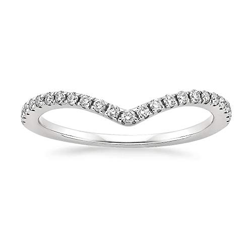 (Sz 7.0 Solid 10K White Gold Diamond 2MM Chevron Half Eternity Stackable Wedding Anniversary Band Ring)