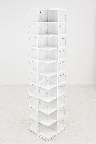 回転式タワーCDラックDVDラック[ホワイト]/CD480枚、DVD216枚収納の大容量スリムラック B00LJOUICQ ホワイト