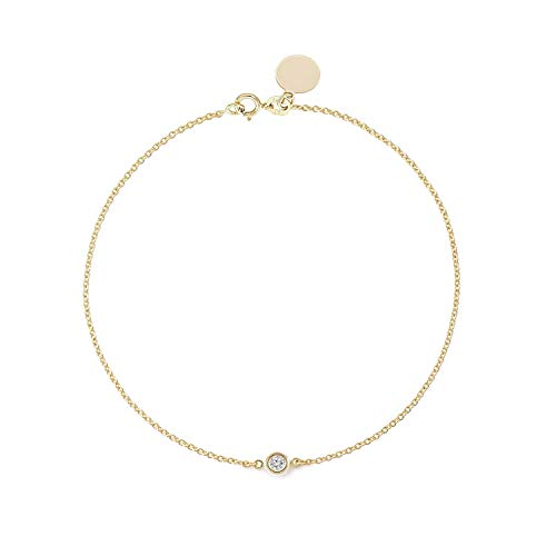 TousiAttar Solitaire Diamond Bracelet - Solid Yellow Gold-14K or 18K - Dainty and Simple Solitaire Bezel Set - Free Engraving - Graceful Gift- Minimalist (18k Vs1 Bracelet)