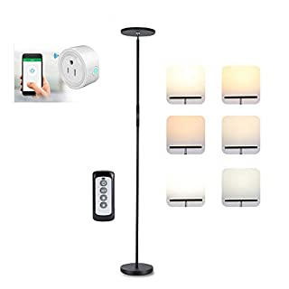 LONGBRITE LED Torchiere Floor Lamp, Dimmable Modern Reading Tall Standing Uplight Lamps for Living Room Bedroom, Touch and Remote Control Led Floor Lights, 3 Color Temperatures, Stepless Dimming, 30W