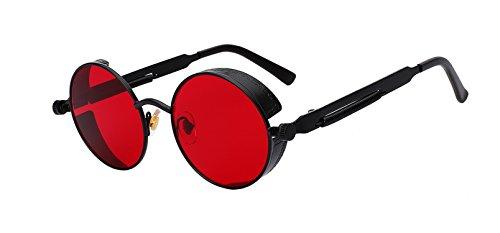 Round Metal Sunglasses Steampunk Men Women Fashion Glasses Brand Designer Retro Vintage Sunglasses UV400,Black w sea red ()