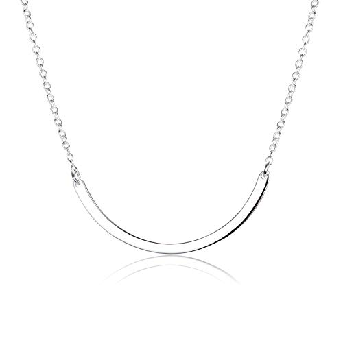 925 Sterling Silver Arc Shape Bar Pendant Necklace DIY Simple Delicate Choker for Girls and Women