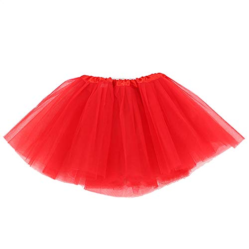 Women's,Teen, Adult Classic Elastic 3 Layered Tulle Tutu Skirt,Red -