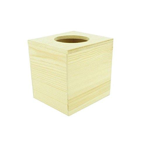 Artemio 14 x 13 x 13 cm Square Wooden Tissue Box, Beige 14001159