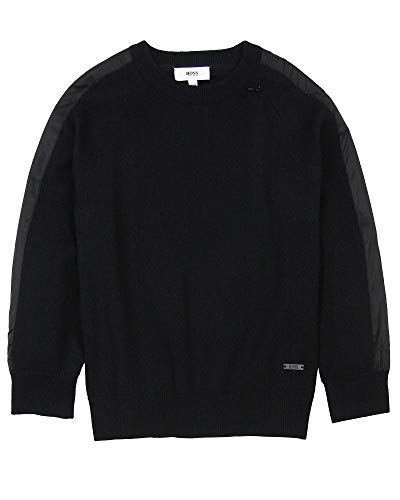 BOSS Boys Pullover with Side Stripes, Sizes 6-16 - 10 Black by BOSS (Image #2)