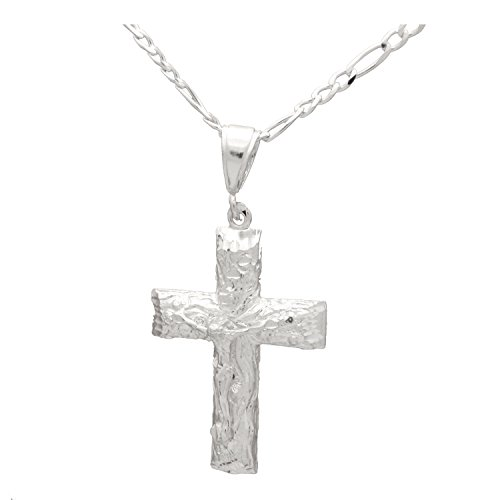 Sterling Silver DC Nugget Style Jesus Crucifix Cross Pendant Necklace 40mm 24 inches Chain