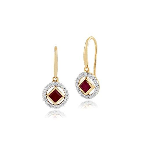 Gemondo Bague Or Jaune 9ct Rubis & Diamant pendantes Ensemble Boucles d'oreille et collier 45cm