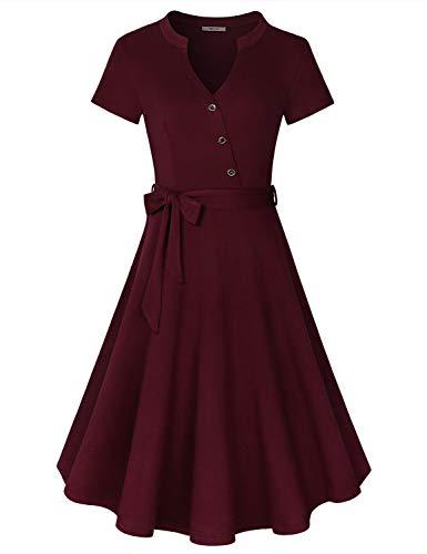 Diphi LiLi Women's V Neck Long/Short Sleeve Button Decoration Plaid Swing Dress (Wine, X-Large)