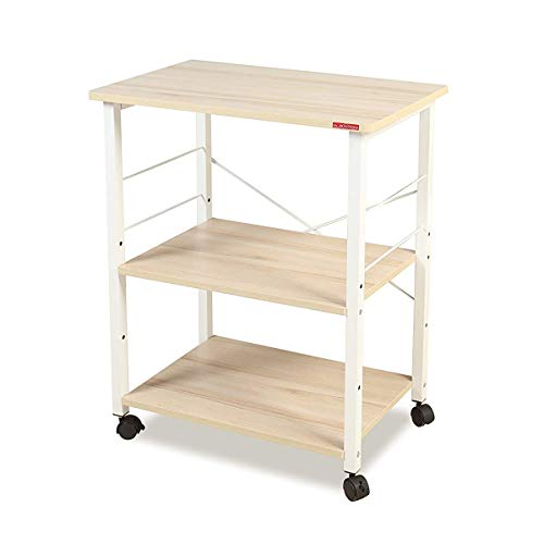 Storage Microwave Cart - Mr IRONSTONE 3-Tier Kitchen Baker's Rack Utility Microwave Oven Stand Storage Cart Workstation Shelf(Light Beige Top+White Metal Frame)