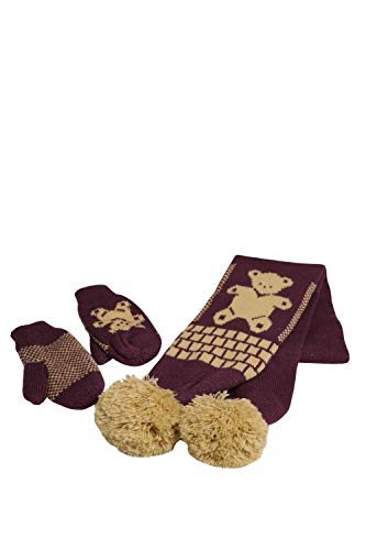 Kids 3-Piece Knit Hat + Scarf + Gloves Set, Winter Warm for Boys Girls (Maroon/Beige) ()